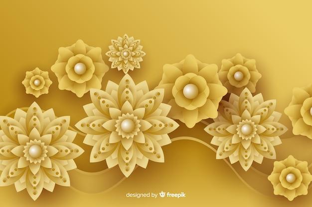 Hintergrund mit goldenen blumen 3d, islamisches design