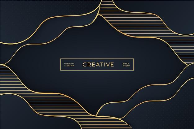 Hintergrund mit goldenen kurvigen linien und dunklen schatten