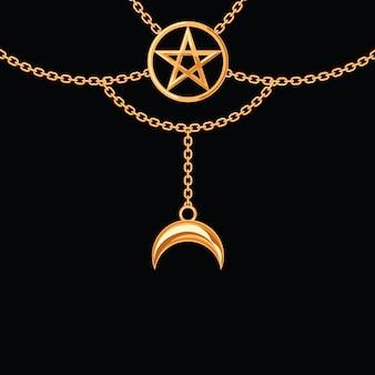 Hintergrund mit goldener metallischer halskette. pentagramm anhänger und ketten. auf schwarz.