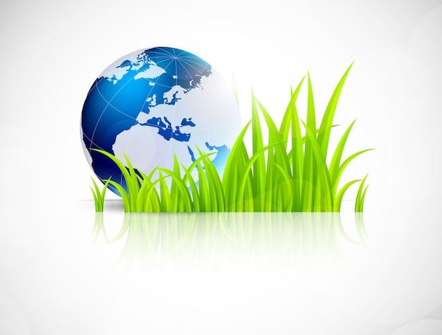 Hintergrund mit gras und erdkugel. konzeptillustration