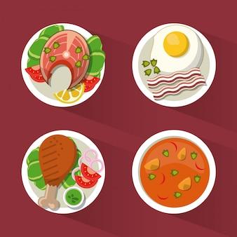 Hintergrund mit huhn und fisch und suppe und ei