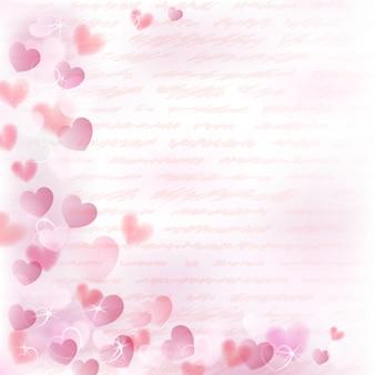 Hintergrund mit kleinen rosa herzen und handgeschriebenem text