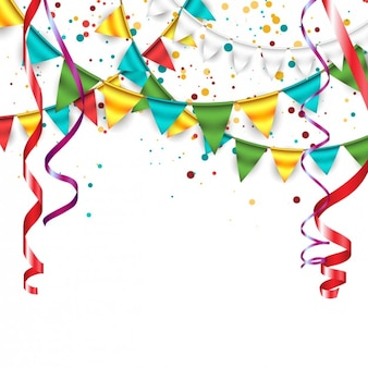 Hintergrund mit konfetti, girlanden und bunting