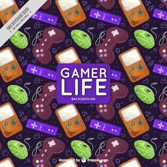 Hintergrund mit konsolen und game-controller