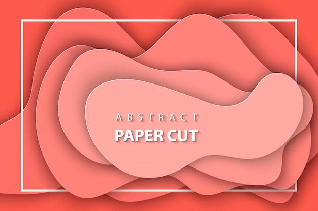 Hintergrund mit korallenrotem tendenzfarbpapierpastellschnitt