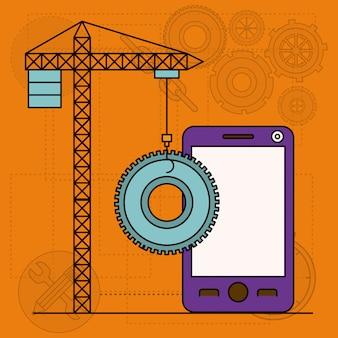 Hintergrund mit kranturm und zahntrieb und smartphone