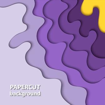 Hintergrund mit lila, gelbem papierschnitt
