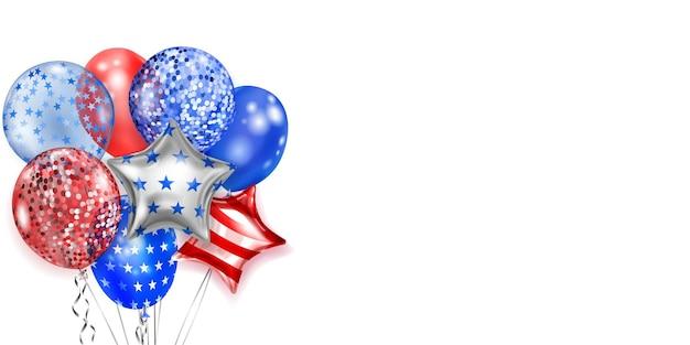 Hintergrund mit mehreren farbigen ballons in den farben der usa-flagge. illustration zum unabhängigkeitstag der vereinigten staaten von amerika