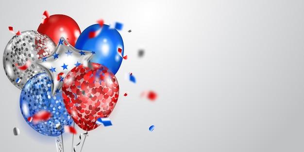 Hintergrund mit mehreren farbigen ballons in den farben der usa-flagge und glänzenden serpentinen. illustration zum unabhängigkeitstag der vereinigten staaten von amerika