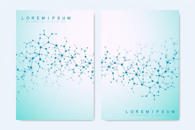 Hintergrund mit molekülstruktur abdecken. zukünftige geometrische vorlage. wissenschaft, medizin, technologischer hintergrund.