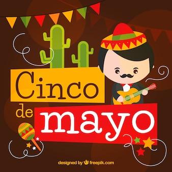 Hintergrund mit musiker für cinco de mayo