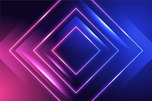 Hintergrund mit neonlichtern und quadraten