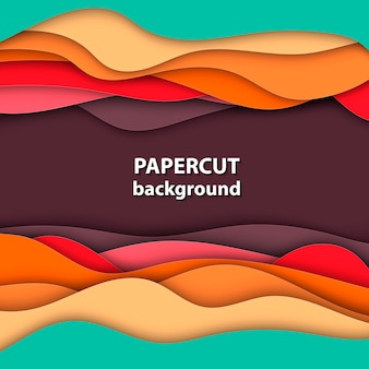 Hintergrund mit orange, rotem und grünem papierschnitt
