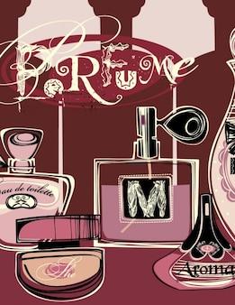 Hintergrund mit parfüm-flaschen
