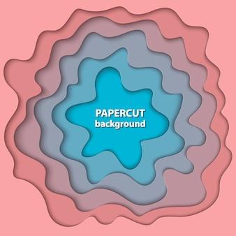 Hintergrund mit pastellkoralle und blauem papierschnitt