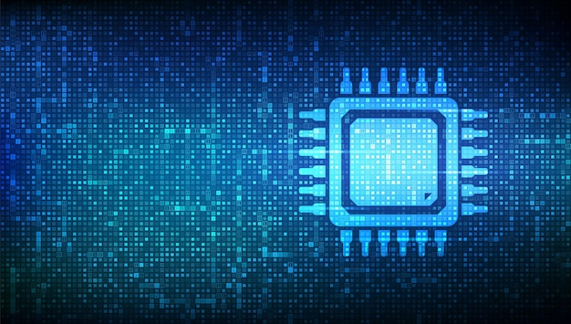 Hintergrund mit prozessor-cpu mikroprozessor oder chip mit binärcode