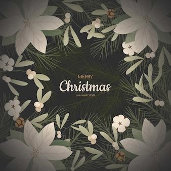 Hintergrund mit realistischen weihnachtsbaumzweigen, tannenzapfen, mistel und stechpalme, ilex.