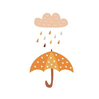 Hintergrund mit regentropfen und regenschirmherbstthema kann für karte verwendet werden