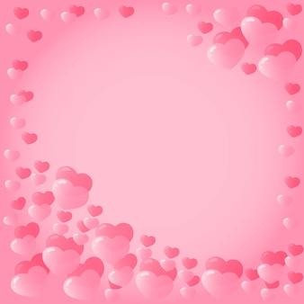 Hintergrund mit rosa herzen zum valentinstag.