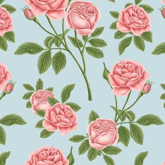 Hintergrund mit rotem rosenmuster
