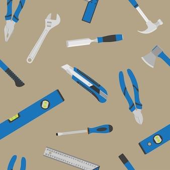 Hintergrund mit satz von werkzeugsymbolen, nahtloses muster