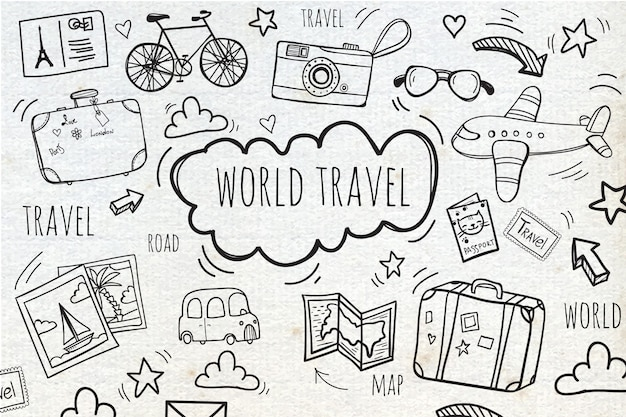 Hintergrund mit skizzen reise