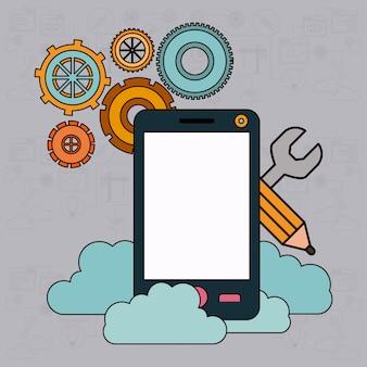 Hintergrund mit smartphone- und speicherwolkenservice
