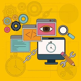 Hintergrund mit softwaretools zur entwicklung der konstruktion in tischcomputern