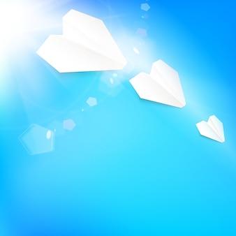 Hintergrund mit sommerhimmel und flugzeug