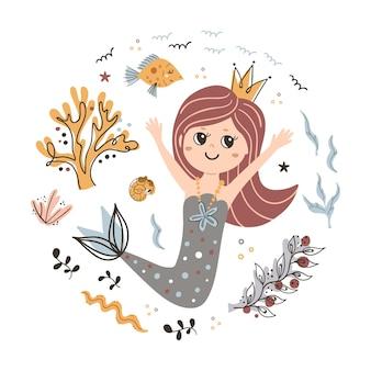 Hintergrund mit süßer kleiner meerjungfrau.
