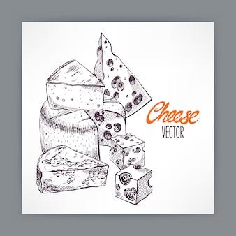 Hintergrund mit verschiedenen appetitlichen skizzenkäsen. handgezeichnete illustration