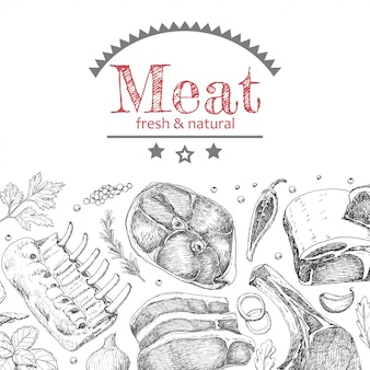 Hintergrund mit verschiedenen fleischerzeugnissen