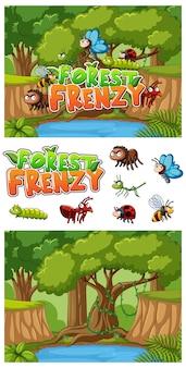 Hintergrund mit vielen insekten im wald