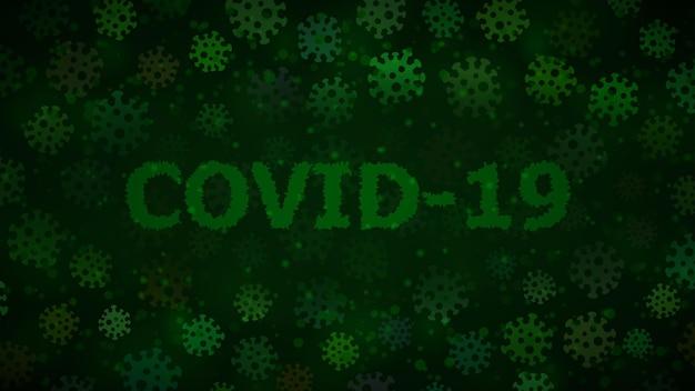 Hintergrund mit viren und aufschrift covid-19 in dunkelgrünen farben. illustration zur coronavirus-pandemie.