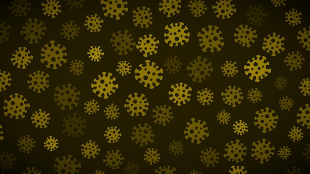 Hintergrund mit virussymbolen in dunkelgelben farben. illustration zur coronavirus-pandemie.