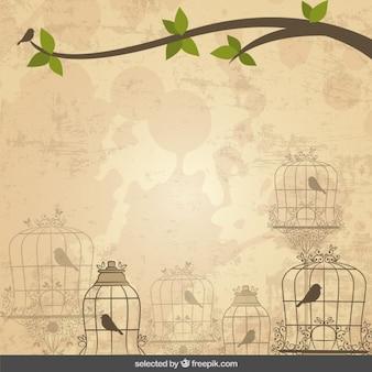Hintergrund mit vögeln käfige