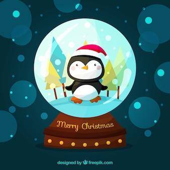 Hintergrund mit weihnachten snowglobe und nettem pinguin