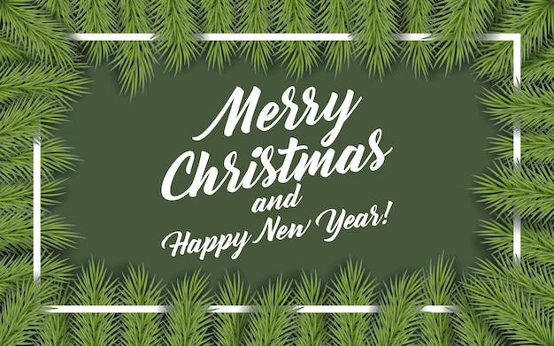 Hintergrund mit weihnachtsbaumzweigen und raum für text