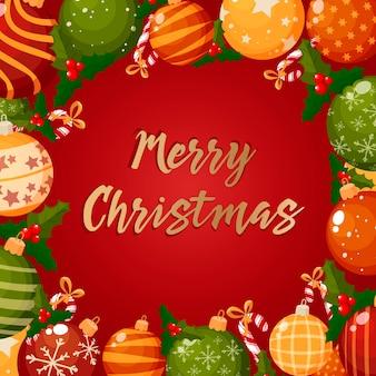 Hintergrund mit weihnachtskranz, schriftzug und dekorationen.