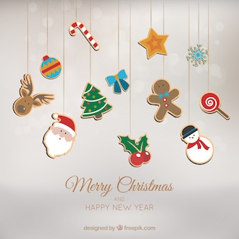 Hintergrund mit weihnachtsschmuck hängen