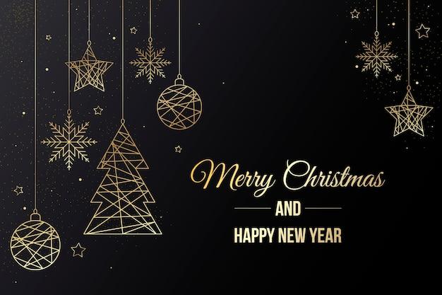 Hintergrund mit weihnachtsschmuck und schriftzug