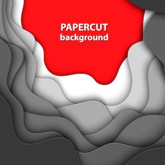 Hintergrund mit weißem, grauem und rotem papierschnitt