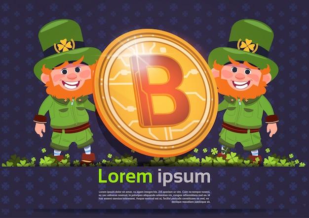 Hintergrund-schablone st. patricks tagesmit dem kobold zwei, der bitcoin-münze hält