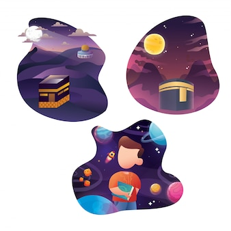 Hintergrund-schablonensammlung ied und ramadans 3d abstrakte