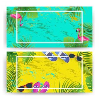 Hintergrund sommer mit blumen, flamingo, sonnenbrille