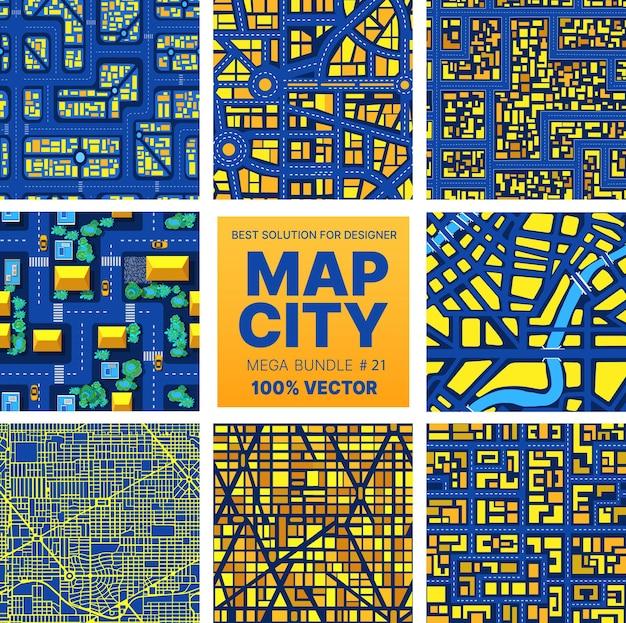 Hintergrund stadtplan set muster städtische straßen, häuser und gebäude