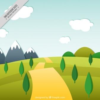 Hintergrund über eine landschaft mit einem pfad