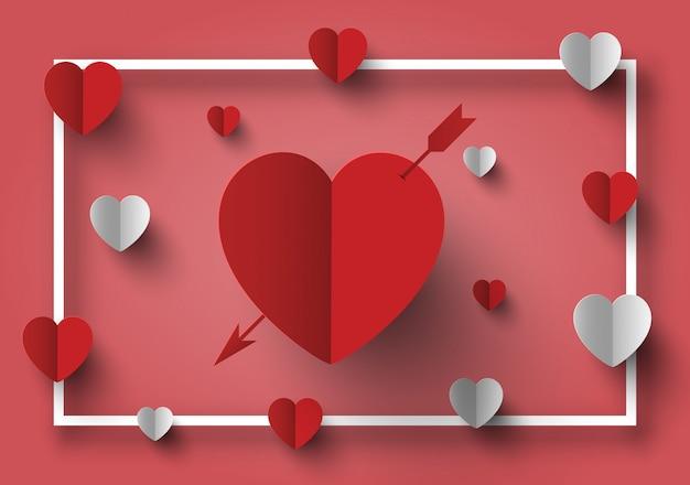 Hintergrund und rahmen der valentinsgrußdekoration