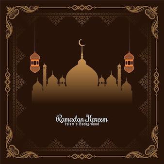Hintergrund-vektor des künstlerischen rahmendesigns des ramadan kareem festivals