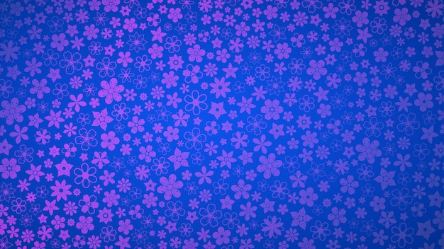 Hintergrund verschiedener kleiner blumen in blauen und violetten farben